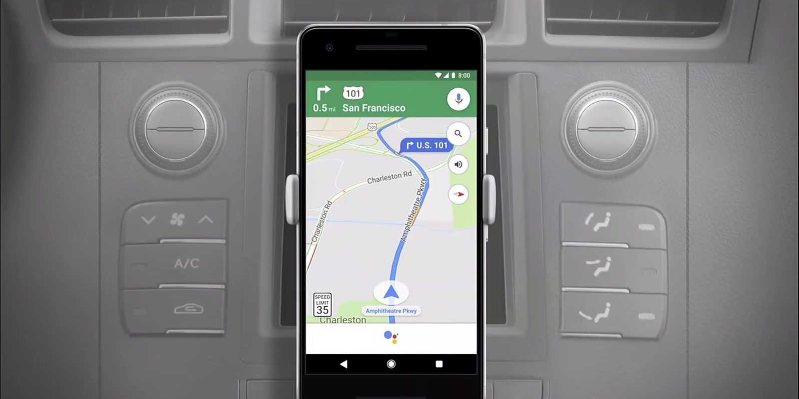 Use Google Assistant within Google Maps for Android.