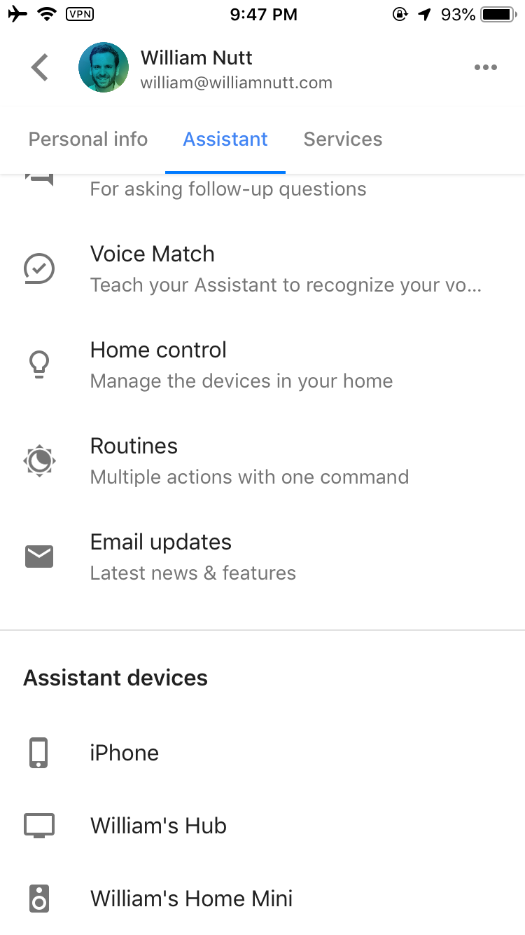 Google Assistant Settings – Devices
