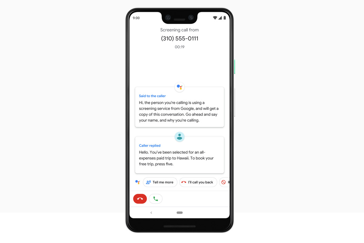 Google Assistant screens spammers on the Pixel 3.